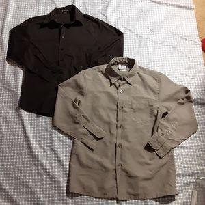 🌻3/$20 Grey&black long sleeve button down shirts